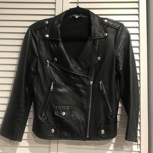 Rebecca Minkoff Wes Moto Leather Jacket w Neoprene